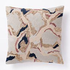 Embroidered Metallic Giraffe Pillow Cover - Gold | west elm