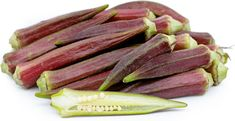Red okra are torpedo shaped and two to five inches long. Offering a unique flavor and texture, the fresh taste is somewhere between eggplant and asparagus. Nutritional Value, Okra, The Fresh, Eggplant, Asparagus, Fish, Texture, Cooking, Unique