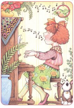 ♥ to sing & play God's music  Wouldn't this be lovely to create with needlework!_Mary Engelbreit
