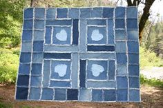 recycled kids blue jeans quilt