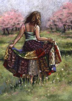 Figure Landscape Print woman dancing painting by AlisaPaints