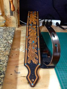 Hand Tooled Leather Guitar Strap by HawkLeatherGoods on Etsy, $275.00