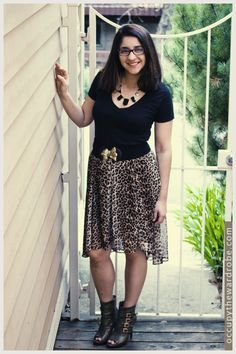 Animal Print and Geometric Necklace.   Skirt/Booties @Forever 21, Necklace: Ebay, Belt: Urban Outfitters, T-Shirt: Express