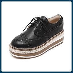 Frühling und Herbstwind von England Damenschuhen/Dicken Boden Plateauschuhe/Brock geschnitzten Riemen Schuhe-A Fußlänge=24.3CM(9.6Inch) - Hausschuhe für frauen (*Partner-Link)