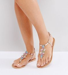 1c77aaaaa11 Get this Asos s flat sandals now! Click for more details. Worldwide  shipping. ASOS FLO Wide Fit Embellished Flat Sandals - Multi  Sandals by  ASOS Collection ...