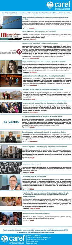 CAREF Recorte de Noticias 07 10 2016  Recorte de Noticias sobre migración y refugio en Argentina y América Latina