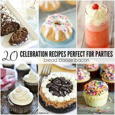 What's a party without a few killer desserts and drinks? Boring! These 20 CELEBRATION RECIPES PERFECT FOR PARTIES are guaranteed to be a hit with your crowd!    Recipes --> http://breadboozebacon.com/20-celebration-recipes/