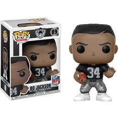 Bo Jackson Funko Pop! NFL Legends Oakland Raiders Get ready for football season! Create your own fantasy league team with only the best of the best in Pop! Vinyl Figure form. This NFL Legends Bo Jackson Raiders Home Pop! Vinyl Figure #89 measures approximately 3 3/4-inches tall and comes packaged in a window display box. For Ages 4 & Up!