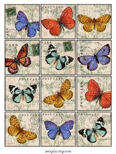 2.5 x 2.5 or 2 x 2 or 1.5 x 1.5 inch squares printable download digital collage sheet vintage images butterflies hang tag label no.200A. $4.00, via Etsy.