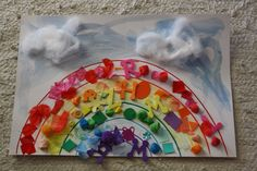 A rainbow collage - great for fine motor too.