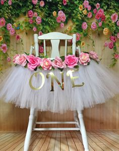 High Chair Tutu - Tutu Skirt - Pink and White Highchair tutu - Highchair skirt - High Chair Birthday- High Chair Banner by AvaryMaeInspirations on Etsy Baby Girl 1st Birthday, Unicorn Birthday Parties, Princess Birthday, First Birthday Parties, 1st Birthday Girl Party Ideas, First Birthday Decorations Girl, Birthday Chair, 1st Birthday Message, 1st Birthday Pictures