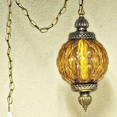 antique brass swag lamps | ... lamp - amber globe - chain cord - swag lamp - pendant light - orange