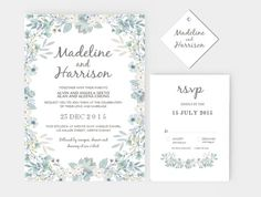 Wedding Invitation Stationary Set DIY | Editable MS Word Template | Rustic Floral Green