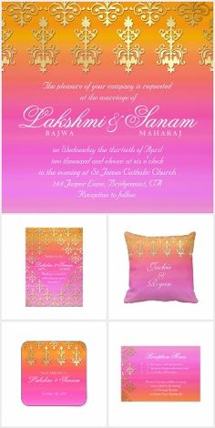 Indian Wedding theme invitation in pink and gold bright colors. Indian Wedding Theme, Pink And Gold Wedding, Special Day, Bright Colors, Wedding Invitations, Cards, Gifts, Bright Colours, Presents