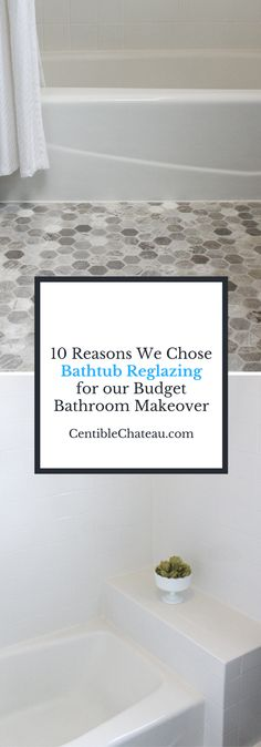 If you hate your ugly bathtub or tile you don't have to demo or get a fiberglass surround. Bathtub reglazing is a simple, inexpensive solution for your budget bathroom renovation. Click to read the 10 reasons we chose bathtub reglazing. CentsibleChateau.com
