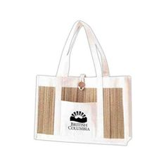 """Canvas and Bamboo Tote $11.99  The Eco Collection - canvas and bamboo tote with button closure and front pocket for imprinting. A lovely spa tote for retail or to fill with your favorite products. Be Eco-friendly in style.  Product Size: 18-1/4"""" x 6"""" x 12-1/4"""""""