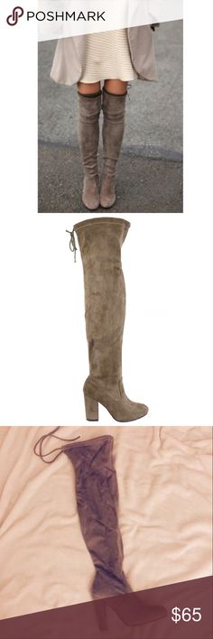 """Hurry!!! Taupe Suede Over The Knee Boots Taupe Over The Knee Suede Boots. Features a chunky 4"""" heel, Rounded Toe, and a Drawstring Collar Tie at the back for a custom fit. The material is soft which makes it flexible for wide or thin calfs. No Trade. Price is Firm unless Bundled. 2+ Items 10% Off 3+ Items 20% Off. Get the look for less! Stuart Weitzman IDENTICAL Boots $798!!!  GlamVault Shoes Over the Knee Boots"""