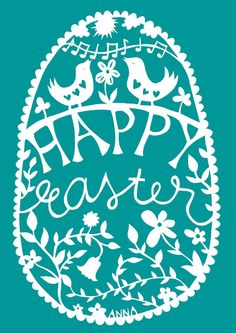 Happy Easter papercut greeting card