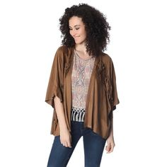 Camel suede jacket in soft touch fabric. Fringe embellishment with open front and wide sleeve.
