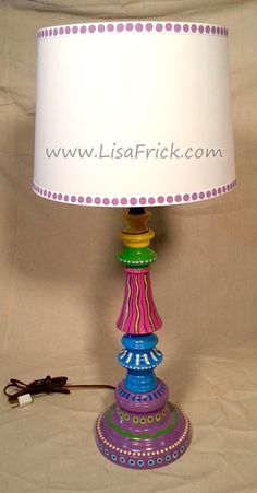 Hand Painted Table Lamp and Shade 012 Fun Funky Whimsical and