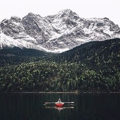 """ourplanetdaily: """"Kayaking Lake Eibsee Germany - Photography by  @Hannes_Becker. #OurPlanetDaily"""""""