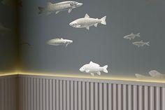 Restaurant Hafen Romanshorn, customised wallpaper by Susanne Fritz Architekten, Photo © Pierre Kellenberger