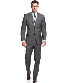 Marc New York by Andrew Marc Grey Sharkskin Trim-Fit Suit