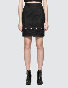 Sjyp Bottom Button Denim Skirt