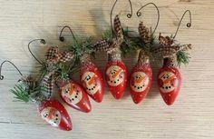 Primitive Snowman Ornament, Snowman Ornament, Vintage Christmas Light Bulb Ornament, Primitive Snowmen, Country Snowman, Red