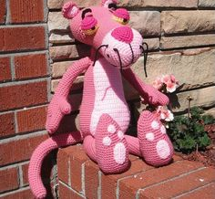 A Big Pink Panther A Crochet Pattern by Erin Scull by Erin Scull © Erin Scull She is one of my favorite cartoon critter designers! She has a real talent for capturing expressions in crochet! Amigurumi Doll, Amigurumi Patterns, Knitting Patterns, Crochet Patterns, Crochet Crafts, Crochet Dolls, Crochet Projects, Crochet For Kids, Crochet Baby