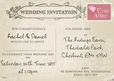 Personalised Shabby Chic Vintage Postcard Wedding Invitations