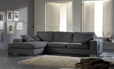Browse interior design ideas for an amazing living room, with a wide range of decorating ideas and find design inspiration. Diy Living Room Decor, Living Room Grey, Living Room Designs, Home Decor, Dark Grey Sectional, Sofa Design, Interior Design, L Shaped Sofa, Zen