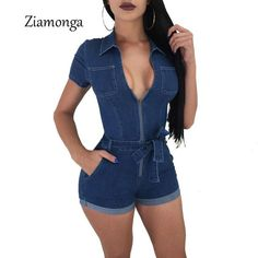 1e32bcd13d Ziamonga Fashion Women Jeans Bodysuit Sleeveless Turn Down Collar Denim  Playsuits Cotton Short Jeans Rompers Womens Jumpsuit