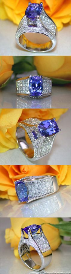 High-end Tanzanite Diamond Ring, 7,05 ct. WG18K - Visit: schmucktraeume.com - Like: https://www.facebook.com/pages/Noble-Juwelen/150871984924926 - Mail: info@schmucktraeume.com