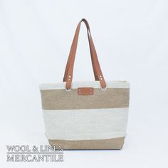 Striped Linen Casual Tote with Leather by WoolLinenMercantile Striped  Linen be8c27bfdbc98