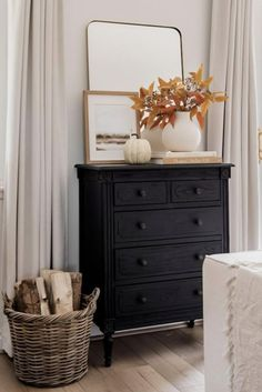 Bring in the look of fall without the fuss. Decorate your space with artificial fall leaves to accent your neutral home decor. Shop artificial fall leaves and faux flowers at Afloral.com. Image by @halfway_wholeistic. Dresser As Nightstand, Fall Home Decor, Autumn Home, Fall Diy, Thanksgiving Table, Fall Leaves, Fall Flowers, Decorating Your Home, Neutral