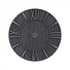 Large Dark Wood Rustic Wall Clock