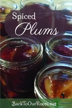 Spiced Plums for home canning. Sweet and tart, cinnamony with a hint of cloves.