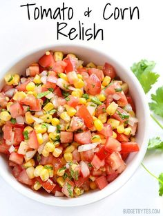 Keep your sides light and fresh this summer with this Tomato and Corn Relish. Perfect for meals from the grill or any southwest inspired meal. @budgetbytes