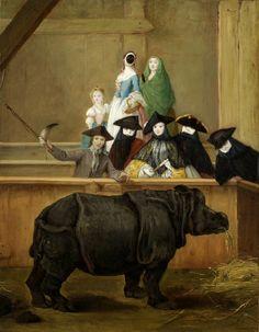 Pietro Longhi, Exhibición de un rinoceronte en Venecia - Clara la rinoceronte