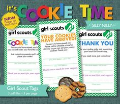 Girl Scout Cookie Sales Tags, all 3 tags in one listing