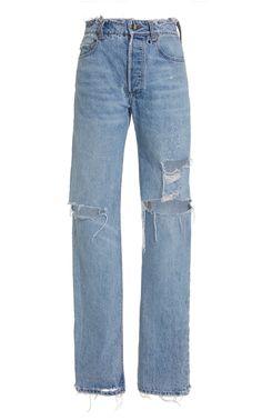 Sammy Distressed Rigid High-Rise Straight-Leg Jeans by Sablyn High Rise Boyfriend Jeans, Designer Jeans For Women, Wide Leg Jeans, Distressed Denim, Stretch Denim, Mom Jeans, Denim Jeans, How To Wear, Fashion Design
