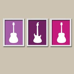 ★GUITAR Wall Art GIRL Nursery Artwork Child Purple Pink Lavender Custom Colors Set of 3 Trio Prints Baby Decor Bedroom Three    ★Includes 3 unframed