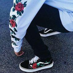 vans , rose , black , white