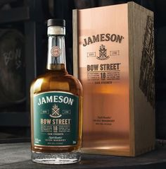 Jameson Bow Street 18 Years is a special blend of rare pot still and grain Irish whiskeys produced. Jameson Irish Whiskey, Scotch Whiskey, Bourbon Whiskey, Whiskey Drinks, Whiskey Bottle, Pot Still, Wine And Spirits, Evil Spirits, Spiritus
