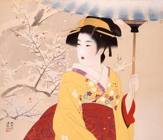 Beauty in the snow 1949 ink and color on silk size unknown Yamatane Museum of Art, Tokyo, Japan Shinsui Ito – was a Ni. Japanese Art Styles, Japanese Artwork, Japanese Painting, Japanese Prints, Geisha Art, Decoupage, Japanese Outfits, Japan Art, Print Artist