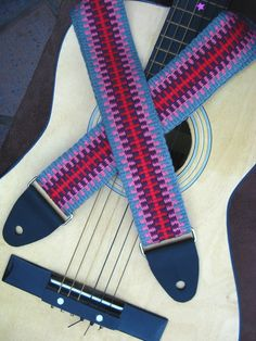 Guitar Strap  Handwoven in Comfortable Cotton by ASpinnerWeaver, $50.00