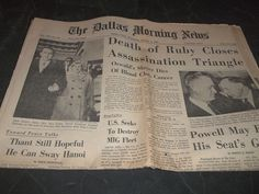 Vintage Dallas Morning News Death of Jack Ruby 1967 plus Comics Movie Showings