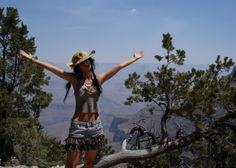 Daughter Daisy in a TinkerTailor mini skirt and top at The Grand Canyon