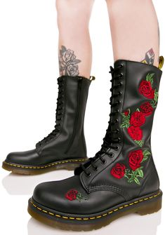 Dr. Martens Vonda Embroidered 14 Eye Boots are tough as thornz, bb~ These classikk combat boots feature an impossibly smooth black leather construction that molds 'N moves with yer feet, thick treaded soles with signature yellow stitching, intricate red rose embroidery down the sides, sleek side zip closures, and full length lace-ups.